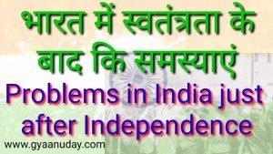 Read more about the article भारत में स्वतंत्रता के बाद की समस्याएं